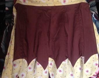 Reduced Price- Sweet Vintage Brown Yellow Pink Petal Apron