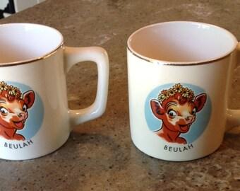 Vintage Borden Dairy Milk Beulah Cow Mug Advertising Pottery Cambridge Ohio China Coffee Hot Chocolate Cup Mug Set of 2