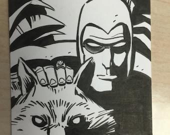 Sketchcard of The Phantom by Dan Schkade.