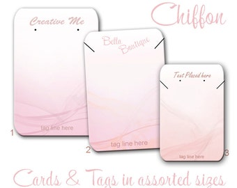 Jewelry Cards - Pink Chiffon Earring Cards - Necklace Tags - Thank You Labels - Stickers - Earring Display - Jewelry Display