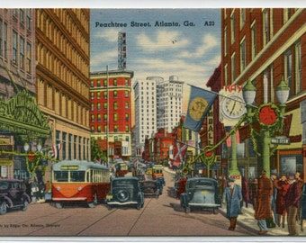Peachtree Street Cars Bus Atlanta Georgia linen postcard
