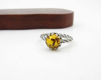 Sterling Silver Amber Ring Size 6 Fossilized Tree Resin Ring Handmade Metalwork Jewelry BooBeads Crowned Amber Ring Gifts under 100