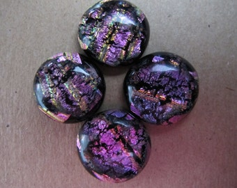 Four Uncalibrated, round, Dichroic glass cabochons approximately 17mm