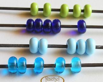 Lampwork Glass Donuts Beads, FREE SHIPPING, Cobalt, Green, Turquoise Glass Spacers Beads - Rachelcartglass