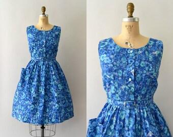 1960s Vintage Dress - 60s Teal Blue Floral Sundress