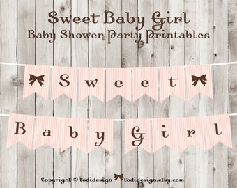 Baby Shower Party Printables INSTANT DOWNLOAD- Pink & Brown Sweet Baby Girl Banner