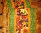 Fall Table Runner, Gold Orange Brown Sunflowers Green Leaves Fall Tablerunner, Autumn Earth Tone, Quilted Reversible Fall Autumn Decor