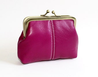 Medium Coin Purse. Leather Coin Purse in Raspberry Pink, Fuchsia Pink, Hot Pink