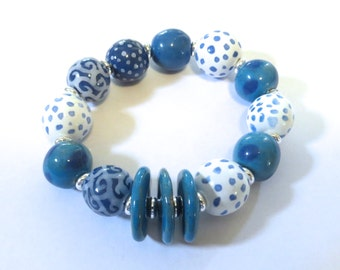 Kazuri Bangle, Blue and White Spotted Ceramic Bracelet