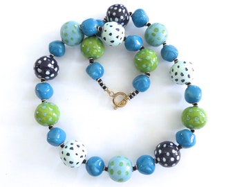 Kazuri Necklace, Fair Trade Beads, Ceramic Necklace, Blue Green and Turquoise Necklace