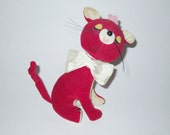 RESERVED - Vintage Red Velveteen Stuffed Cat By Fun Farm Japan