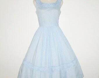 Vintage 1950s Dress / 50s Blue Floral Dress / 50s Blue & White Dress / 50s Ruched Dress - Size S, M