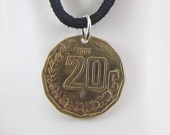 Mexican Coin Necklace, 20 Centavos, Mens Necklace, Womens Necklace, Coin Pendant, Leather Cord, Birth Year, 2001