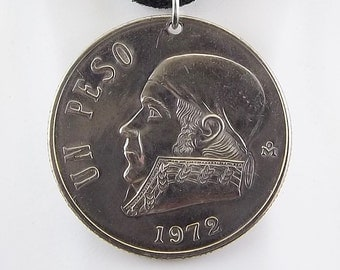 1972 Mexican Coin Necklace, Mens Necklace, Womens Necklace, 1 Peso, Coin Pendant, Leather Cord, Vintage