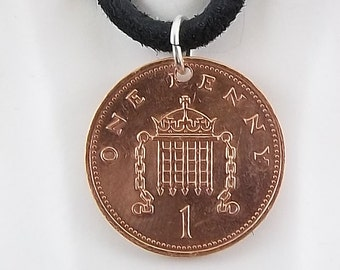 1991 English Penny Coin Necklace, Mens Necklace, Womens Necklace, Coin Pendant, Leather Cord, Vintage