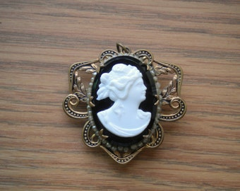 Vintage Cameo Locket Pendant White Psyche on Black Set in Brass Metal with Faux Pearls