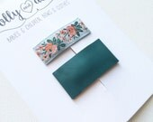 Leather and vintage floral snap clip set- forest green leather and chambray floral