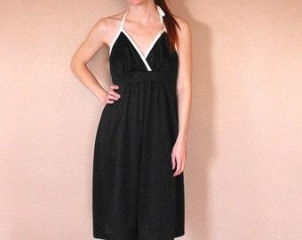 SHOP SALE 70s Black Halter Dress Summer Sun Vintage Casual 1970s S
