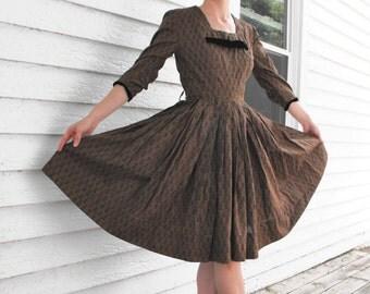 50s Novelty Print Dress Vintage 1950s Cotton S