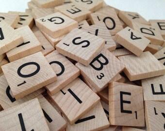 50 Modern Natural Wood Scrabble Tiles, Bulk Scrabble Tiles