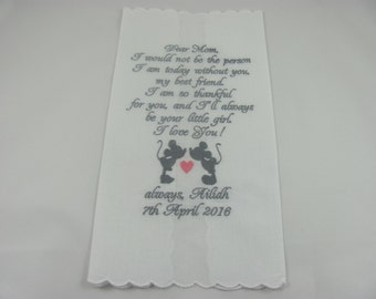 Personalized - Mother of the Bride - Embroidered - Wedding Handkerchief -  Simply Sweet Hankies