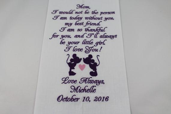 e0e3adc88 Personalizada de la madre de la novia bordados Disney boda pañuelo Mickey y  Minnie boda regalo