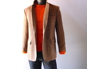 Men's Herringbone Tweed Sport Coat - 42 Regular - Vintage Modern Preppy Tailored Winter Blazer - Classic Harris Tweed Style - The Clothier