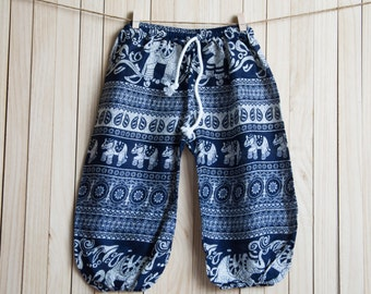 Kid's Navy Blue Printed Cotton Pants /Gypsy Pants/Aladdin Pants/Genie Pants/Yoga Pants /Thai Pants Size-M