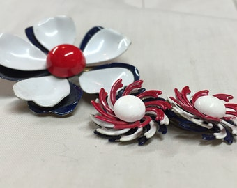 Vintage Enamel Brooch and Earring Set- Red White and Blue Brooch Earring Set - Vintage Brooch And Earrings - Cyber Monday Sale