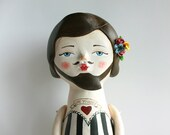 Circus bearded woman - One of a kind art doll - Paper clay hand sculptured figurine - Love yourself