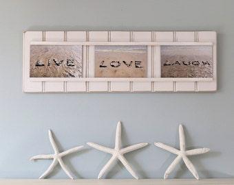 Live Love Laugh, beach décor, positive sentiment, motivating art, coastal décor, beach photography, beach stones, fun word art, beach words