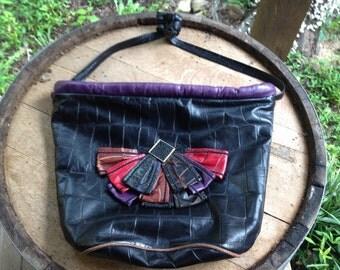 Vintage Leather High Fashion Shoulder Bag // 90s //