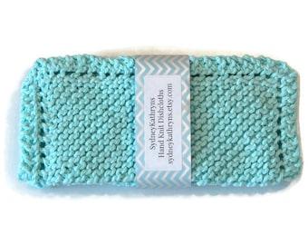 Robin's Egg Blue, Aqua Hand Knit Dish Cloths