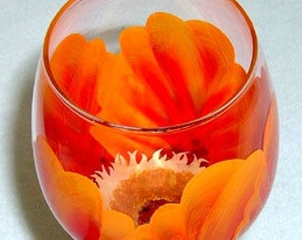 Wine Glass Orange and Red Flower Hand Painted