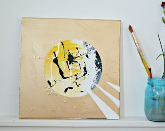 """Yellow Bliss,Abstract Painting,Abstract Art,12""""x12"""" Canvas,Spray Paint,Acrylic Paint,Warm Paintings,"""