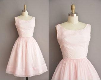 50s powder pink chiffon vintage dress / vintage 1950s dress