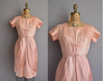 50s blush pink satin vintage wiggle dress / vintage 1950s dress