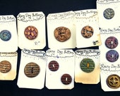 Large Lot DISCOUNTED Handmade Buttons  Rainy Day Buttons De-Stash - Steampunk Gears and Type