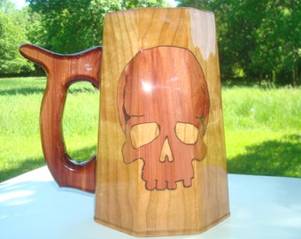 RED SKULL Cedar on Cherry wooden mug 32oz. WOW!