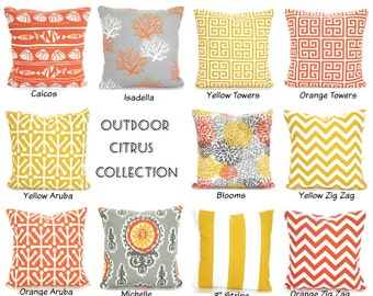 OUTDOOR Throw Pillow Covers, Decorative Cushion Covers, Orange Yellow Gray White Patio Pillows, Deck Boat, One or More Mix & Match ALL SIZES