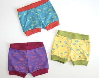 Arrows | Organic Baby Shorties | Shorts | Screen Printed Baby Clothing | Baby Pants | Organic Baby Clothes | Unisex | Baby Bottoms
