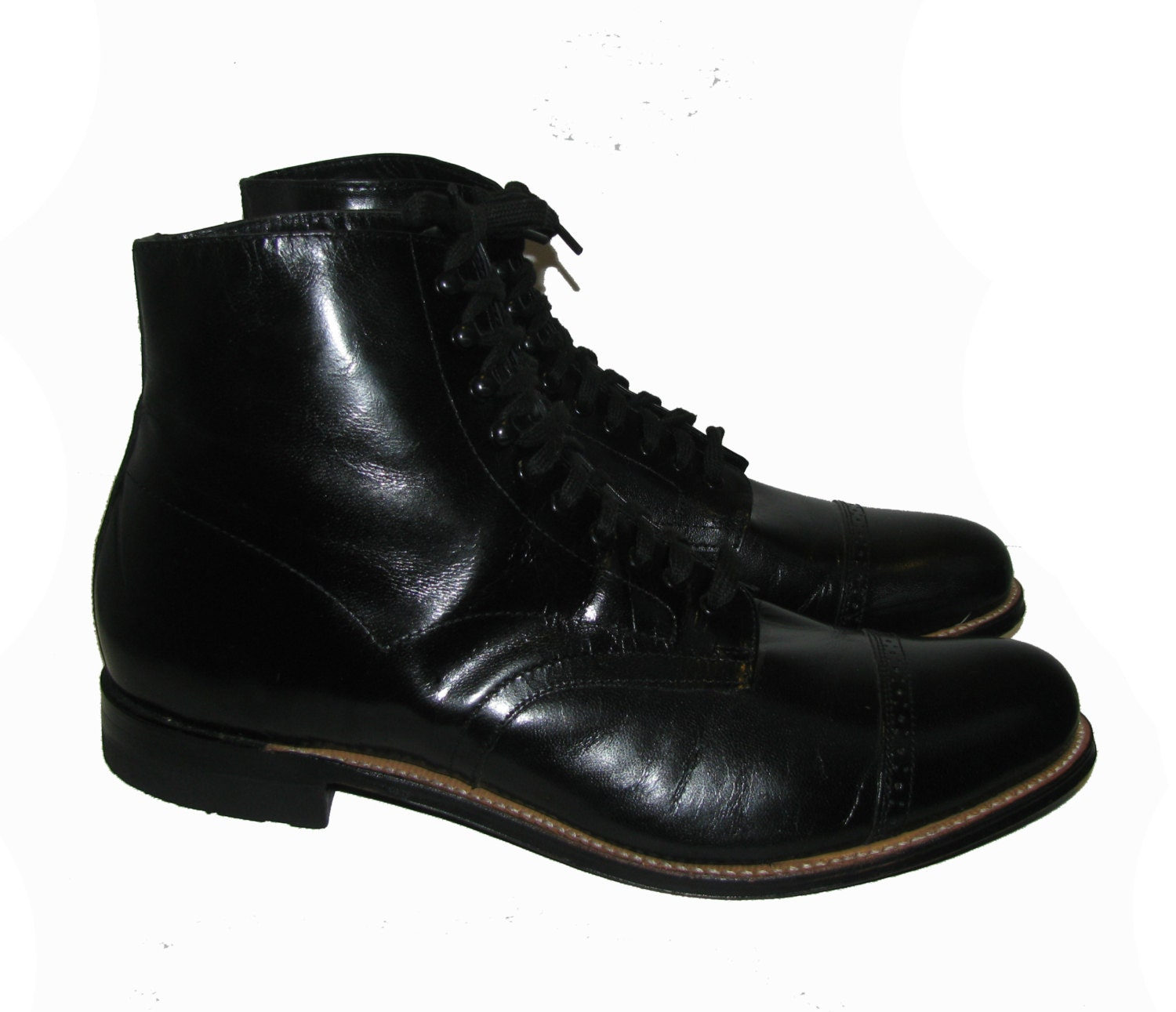 vintage comfort boots mens black leather