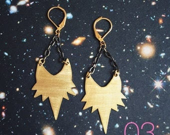 03 // Brass Spike Earrings // geometric earrings