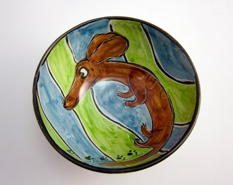 Ceramic Pottery Bowl - Brown Dachshund Wiener Pet Dog -  Blue Green - Clay Bowl - Majolica Bowl - Handmade Serving Bowl