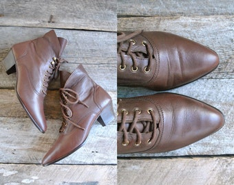 Granny Boots Size 7  //  Brown Ankle Boots Sz 37.5  //   STEAMPUNK DREAM
