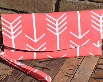 Coral Arrow Envelope Clutch, Personalized Wedding Gifts, Bridesmaids Gifts, Clutch, Fold Over Clutch, Envelope Clutch,