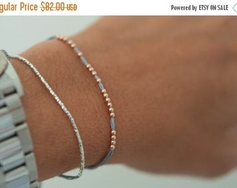 Valentine SALE 14k solid rose gold beaded friendship bracelet. Silk bracelet. fine jewelry.