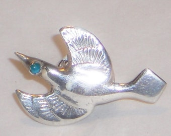 Vintage Native American Silver Road Runner Lapel Pin Tie Tack, Jewelry