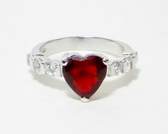 Vintage Red Heart Sterling Ring, Jewelry