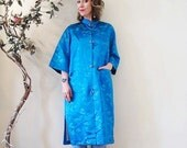 BIG ASS SALE vintage 60s Japanese dressing gown robe kimono jacket opera coat silk turquoise embroidered
